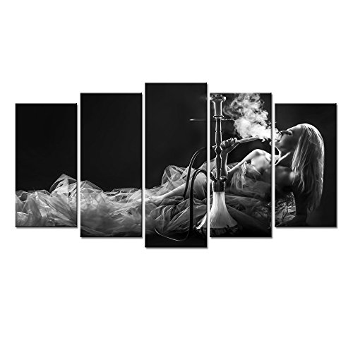 Poster Standard Furniture - LevvArts - Large Canvas Print Wall Art Beautiful Woman Smoke Hookah Black and White Picture Photo Painting for Bedroom Hotel Wall Decoration,Framed and Ready to Hang