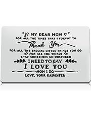 هدايا عيد ميلاد للأم من الابنة الأم محفورة محفظة إدراج بطاقة تقدير هدية شكرا لك هدية الأم محفظة معدنية إدراج بطاقة عيد الأم عيد الميلاد هدايا الزفاف للنساء الجدة