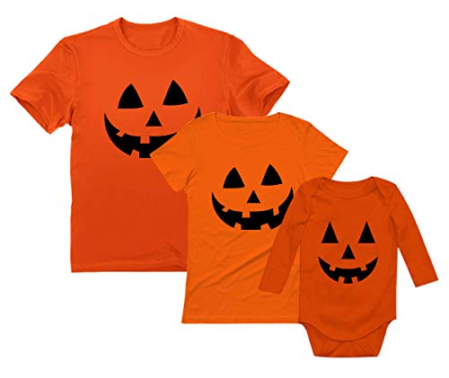 Jack O' Lantern Pumpkin Family Mom, Dad & Baby Matching Halloween Costume Set Dad Orange X-Large/Mom Orange Small/Baby Orange 6M (3-6M) ()