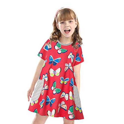 Toddler Girls Cute Animal Print Short Sleeve Casual Summer Applique Baby Children Tunic Dress Shirt(Butterfly,3T/3-4YRS)