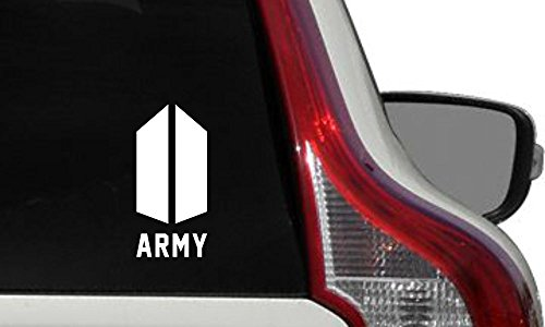 BTS Army NEW Logo Text ARMY Car Die Cut Vinyl Decal Bumper Sticker for Car Truck Auto Windshield Wall Window Ipad Tablet Macbook Laptop Computer Home Custom and More (White)