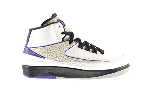 Jordan Boys Nike Air 2 Retro BG Concord Basketball Shoes - 395718 153 White/Dark Concord-black-wolf Grey