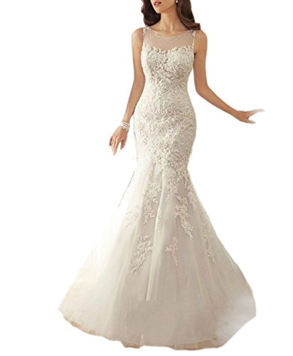 Ikerenwedding Women's Court Train Straps Lace Applique Mermaid Wedding Dress ()