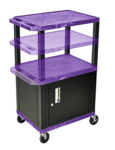 H.Wilson WT2642PC2E-B Adjustable Height 3 Shelves Purple Tuffy Cart with Cabinet Black Legs