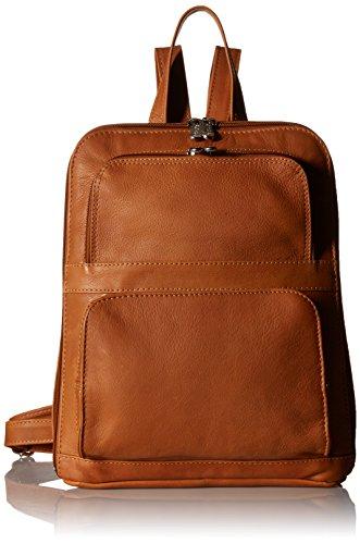 (Piel Leather Slim Tablet Backpack W/Front Pockets, Honey)