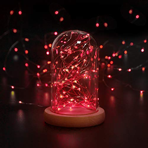 Girls Bedroom Decorations,Cshare 50 LEDs 5m/16.4ft Battery Operated Fairy Lights IP65 Waterproof Micro String Lights for Wall,Wedding,Tent,Outdoor,Indoor Decoration.(Red)