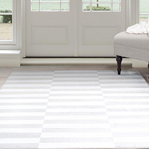 Lavish Home Alternate Stripes Area Rug, 8' by 10', Grey/White