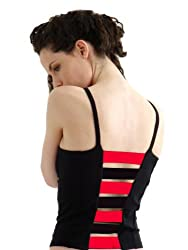 Margarita Ladderback Top - Black with Red Stripes