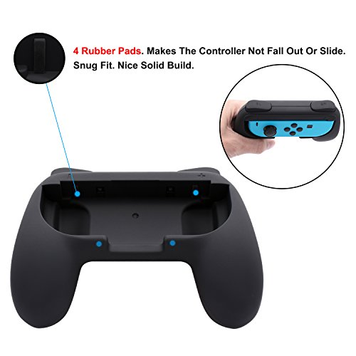FASTSNAIL Grips for Nintendo Switch Joy-Con, Wear-resistant Handle Kit for Switch Joy Cons Controller, 2 Pack (Black) by FASTSNAIL (Image #2)