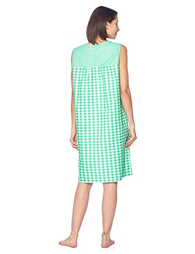 514c20026b8f Casual Nights Women's Zipper Front House Dress Duster Sleeveless Housecoat  Lounger Robe, Gingham Green,