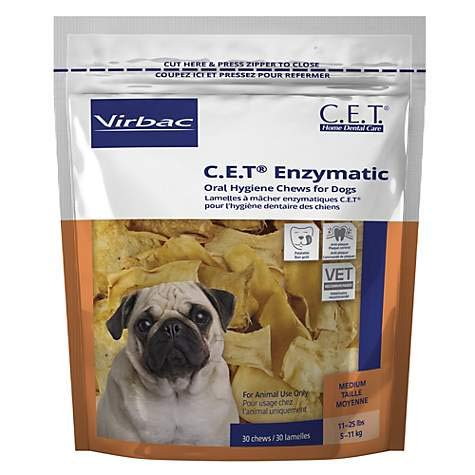 C.E.T. Enzymatic Oral Hygiene Chews for Small-Medium Dogs (11-25 Pounds) - (90 chews) by CET by Virbac