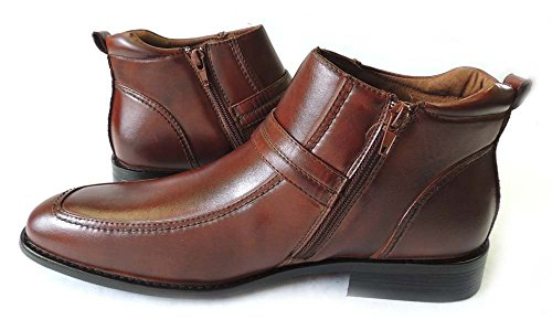 NEW MENS ANKLE BOOTS BUCKLE DESIGN TAPERED FRONT ZIPPER LEATHER SHOES M835 / BROWN nPMKkODD6K