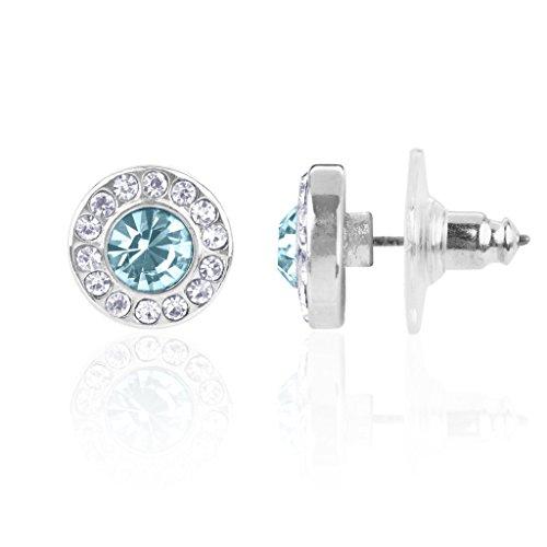 Square Aquamarine 3 Stone Ring - Lux Accessories Synthetic Aquamarine Aqua March Birthstone Pendant Disc Pave Charm Stud Earrings Birthday Stone