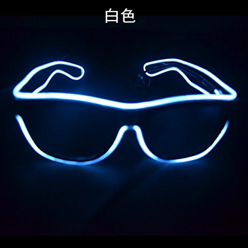 Agile Shop Fashionable Glow Eye Glasses With Voice Control Light Up El Wire Led Flashing Glasses For Halloween Christmas Birthday Party Favor  White