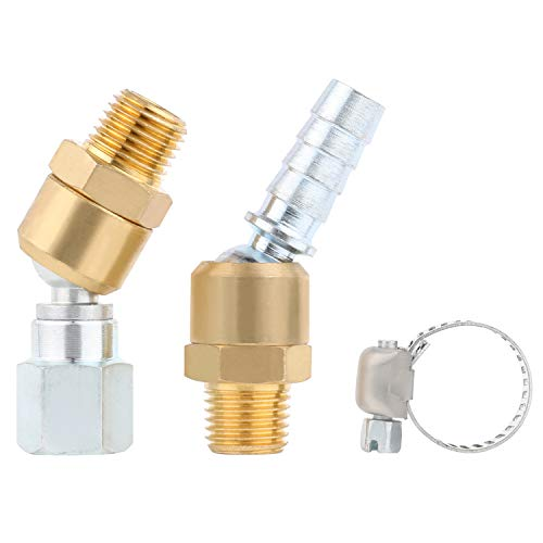 (Hromee Solid Brass Hose Swivel Ball Joint Air Line Fittings 1/4