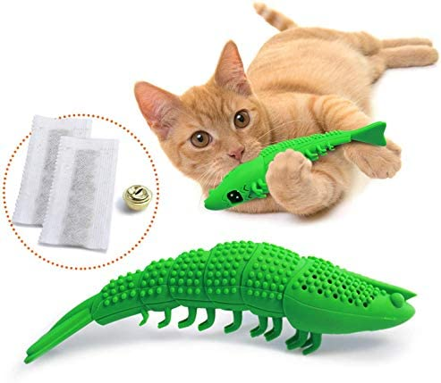 Ronton Cat Toothbrush Catnip Toy – Durable Hard Rubber – Cat Dental Care, Cat Interactive Toothbrush Chew Toy