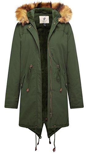 WenVen Women's Winter Warm Vantage Sherpa Lined Parka Jacket(Army Green,2XL) (Army Green Coat Women)