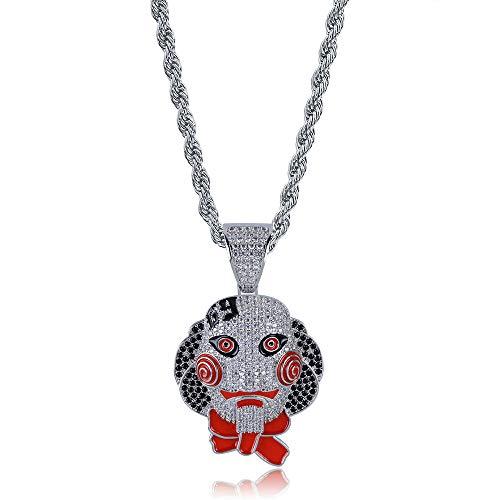 MENGKE Chainsaw Cry Jigsaw Mask Doll Pendant Halloween Zircon Tide Brand Men's Hip Hop Necklace,Silver]()