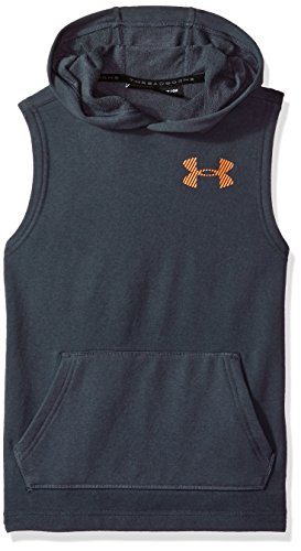 - Under Armour Boys' Threadborne FT Sleeveless Hoodie, Stealth Gray (008)/Neon Coral, Youth X-Small