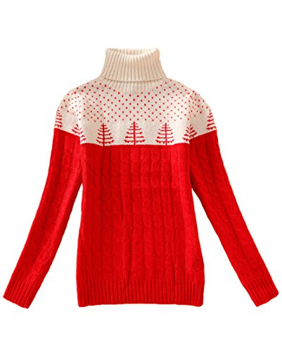 YOURNELO Women's Stitching Color Turtleneck Christmas Tree Pullover Sweater