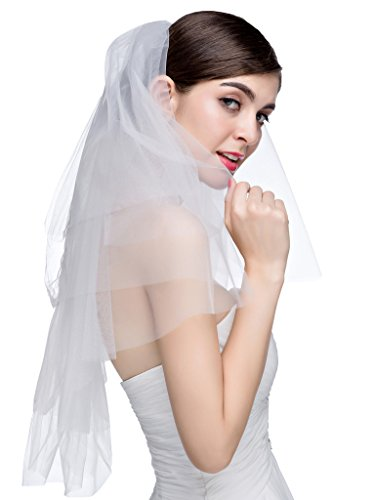 Edith qi Short Tulle Center Gathered Wedding Veil with Comb Elbow Length 27\