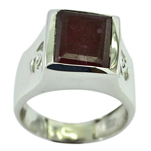 55Carat Genuine Indian Ruby Ring Handmade Sterling Silver Square Chakra Healing Size 5,6,7,8,9,10,11,12