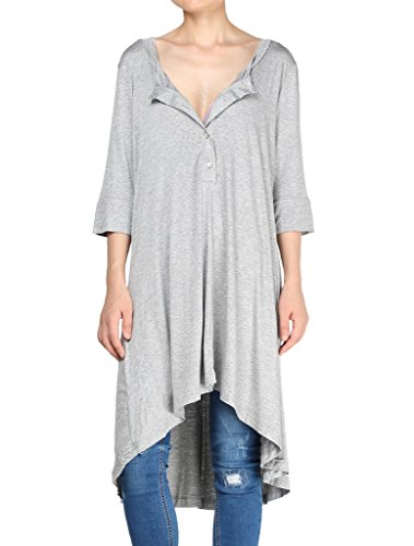 Mordenmiss Women's New Half Sleeve High Low Loose Tunic Tops Grey-XL