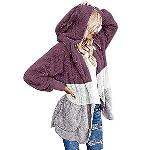 WUAI-Women Oversized Fuzzy Fleece Open Front Hooded Cardigans Sherpa Jacket Outwear
