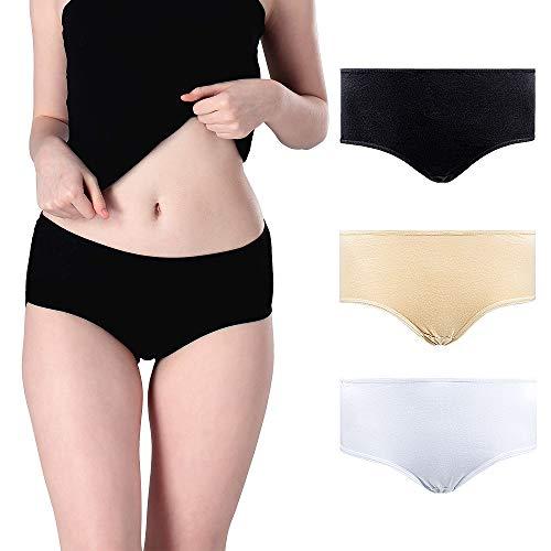 BRIDGET 6 Pack Women's Underwear Full Brief Cotton Womens Stretch Underpants Mid Rise Briefs Underwear Women S M L XL (6 Pack Black, M)