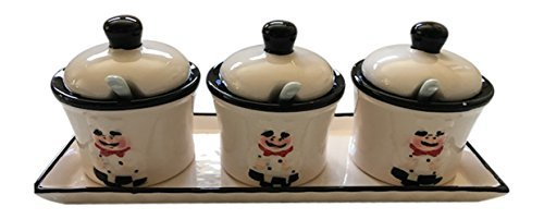 Chef Condiment Set with Spoons and Tray