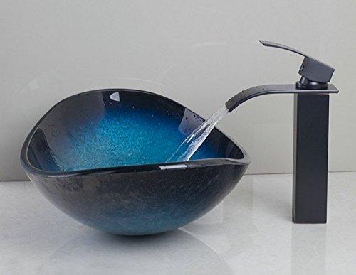 GOWE Modern Luxury Washroom Basin Sink Ingots Shape Washbasin Vessel Sink Countertop Sink Tempered Glass with Brass Faucet Mixer 1
