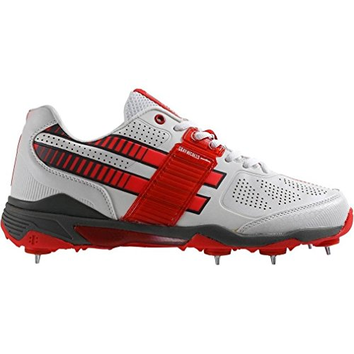 GRAY-NICOLLS GN1000Pro-Flexi Chaussures de cricket Homme, Blanc/Rouge, 44
