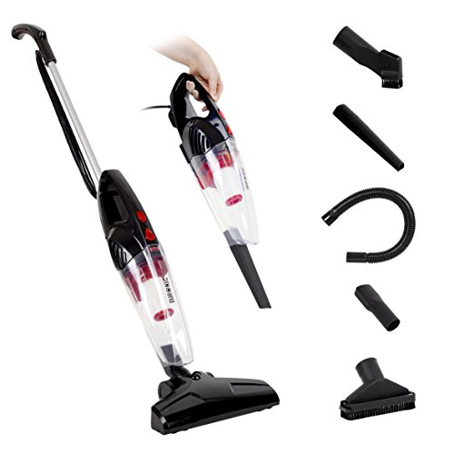 Duronic VC8 /BK Upright Stick Vacuum Cleaner Energy Class A+ HEPA Filter Bagless Handheld Stick Vac- Includes 2 in 1 Crevice/Hose/Extra brush - Convert from Upright to Hand Held in Seconds!