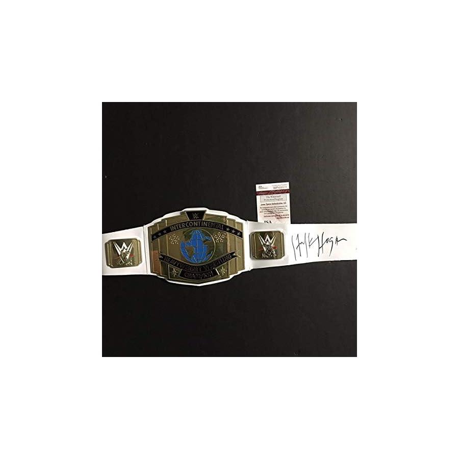 Autographed/Signed Hulk Hogan White Replica WWE Wrestling Championship Title Belt JSA COA