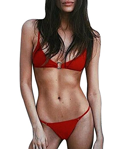 Donna Anello Di Metallo Costumi Da Bagno 2 Pezzi Reggiseno Slip Bikinis Set Rosso