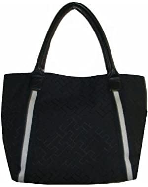 Women's Tote Handbag, Large Logo, Size Large, Black