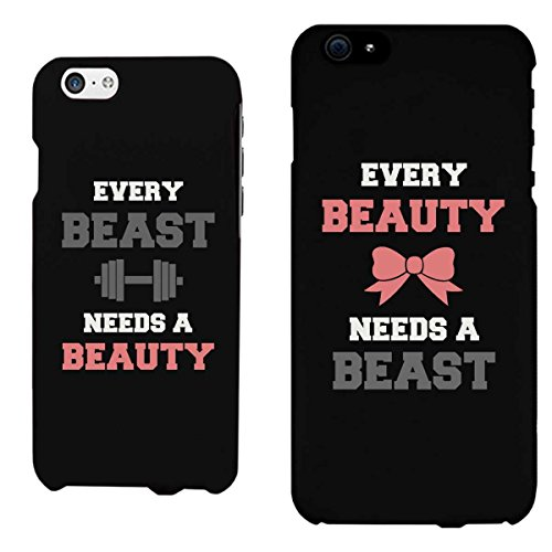 365 Printing Every Beauty and Beast Black Matching Couple Phone Cases Valentine's Day Gifts