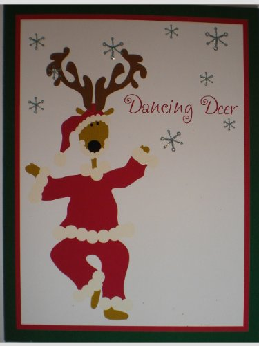 6 Glittered Dancing Santa Reindeer Note Cards Envelopes