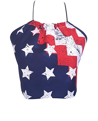 Downright Bandanas American Flag Bandana Halter Crop Top Shirt - USA America 4th Of July - Womens Clothing