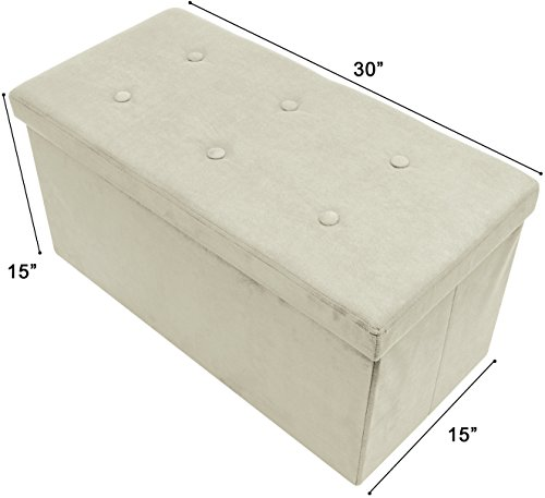 Sorbus Storage Ottoman Bench – Collapsible/Folding Bench Chest with Cover – Perfect Toy and Shoe Chest, Hope Chest, Pouffe Ottoman, Seat, Foot Rest, – Contemporary Faux Suede (Small, Beige) (Small Storage Bench)