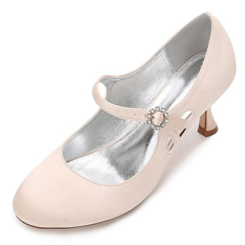 L@YC Mujeres Low High Heels F17061-45 Round Head Cerrar The Toes Pumps Satin Wedding Evening Party Shoes Champagne