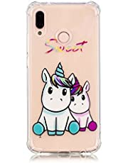 Ttimao Hoesje voor Huawei P20 Lite Transparante Zachte TPU Siliconen Beschermhoes Vernisverlichting Vier Hoeken Strong Anti-Fall Krasbestendig Beschermhoes-Sweet Unicorn