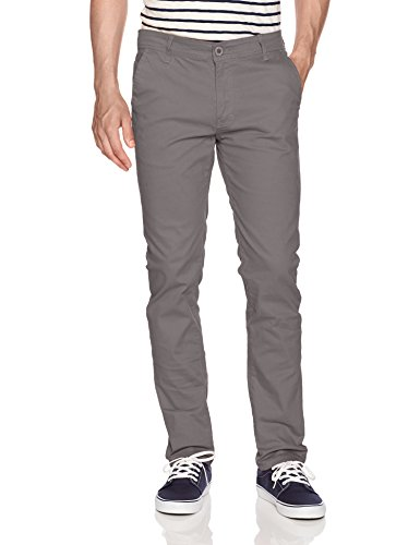 WT02 Men's Long Basic Stretch Skinny Chino Pant, Grey(New) 36X32