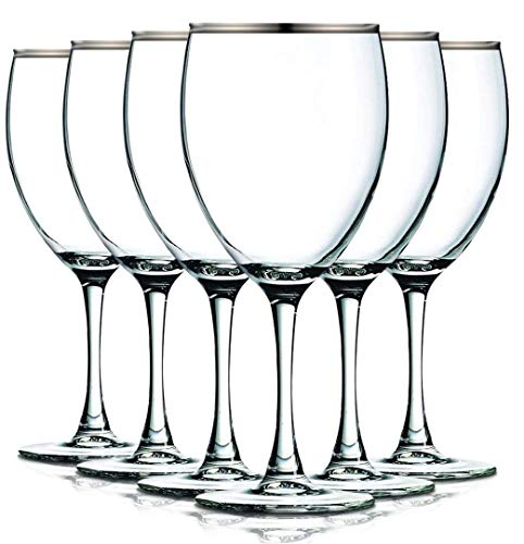 Platinum Nuance Accent Stem 10 oz Wine Glasses - Set of 6 by TableTop King - Additional Vibrant Colors Available