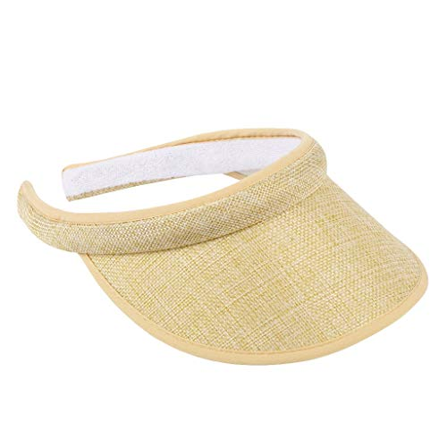 Women Hats Summer Sun UV Protection Visor Wide Brim Clip on Beach Pool Golf Cap for Girls Beige