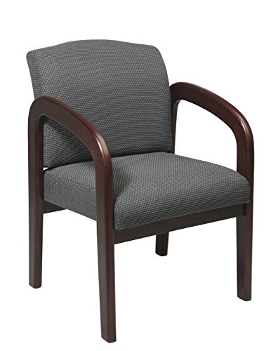 Office Star WD388-320 Visitors Chair with Espresso Finish Base and Arms, Charcoal - Leather Chair Visitors Finish Wood