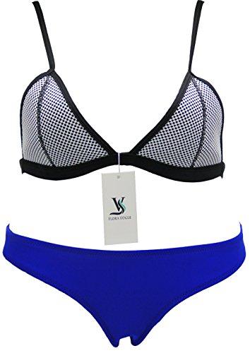 FLORAVOGUE Women Neoprene Bikini Mesh Triangle Set Bathing Suits Blue Large