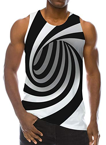RAISEVERN Sport Gym Sleeveless Vest 3D Printed Realistic Black and White Circle Pattern Underwaist Gym Tank Tops for Men