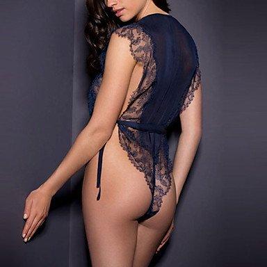 MENRY Ultra Sexy Vêtement de nuit Femme, Col en V Couleur Pleine - Moyen Polyester Bleu