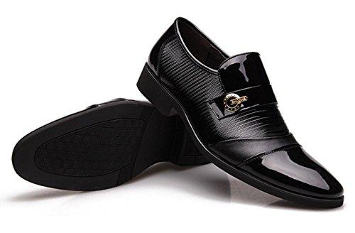 WZG zapatos de boda zapatos casuales los hombres de Inglaterra zapatos de cuero del vestido de los zapatos de cuero de patente de los hombres de negocios 9.5 Black